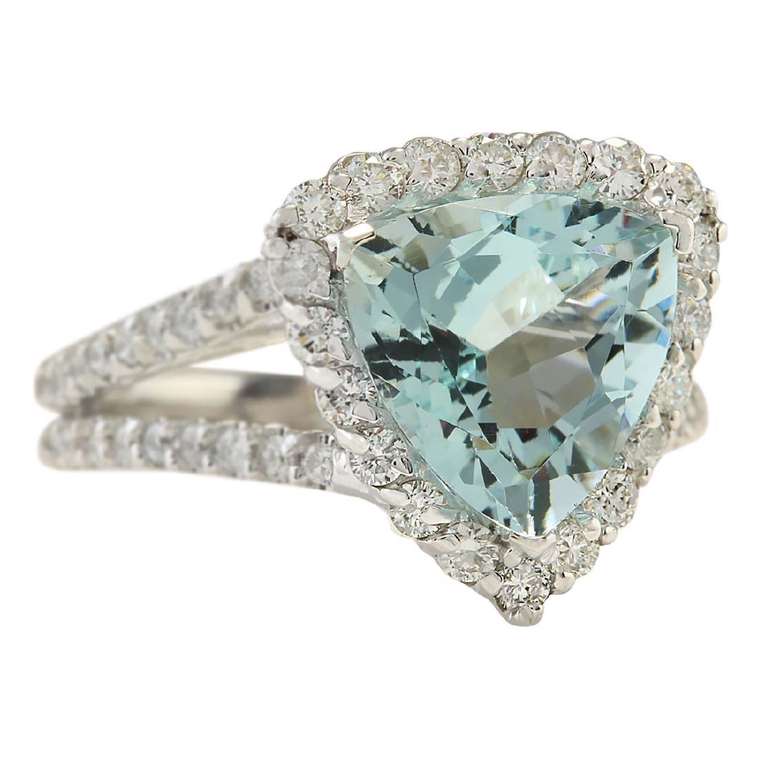 3.52 CTW Natural Aquamarine And Diamond Ring In 18K - 2
