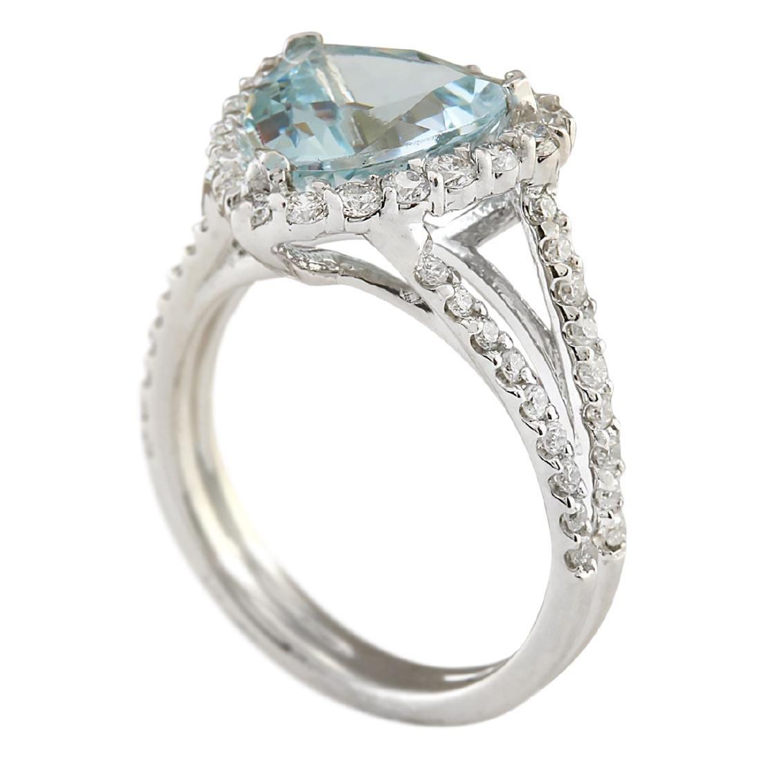 3.52 CTW Natural Aquamarine And Diamond Ring In 18K - 3