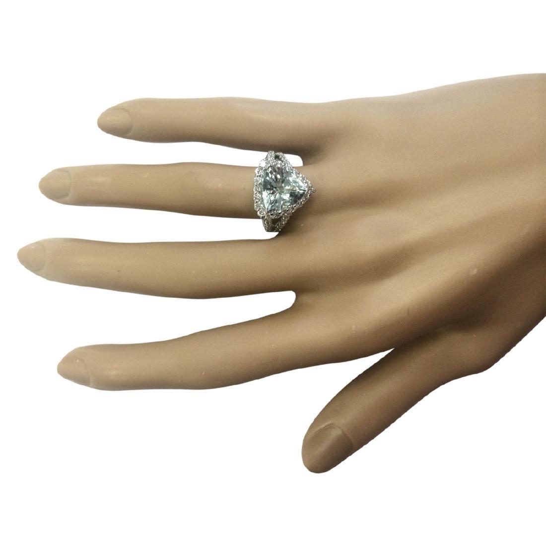 3.52 CTW Natural Aquamarine And Diamond Ring In 18K - 4