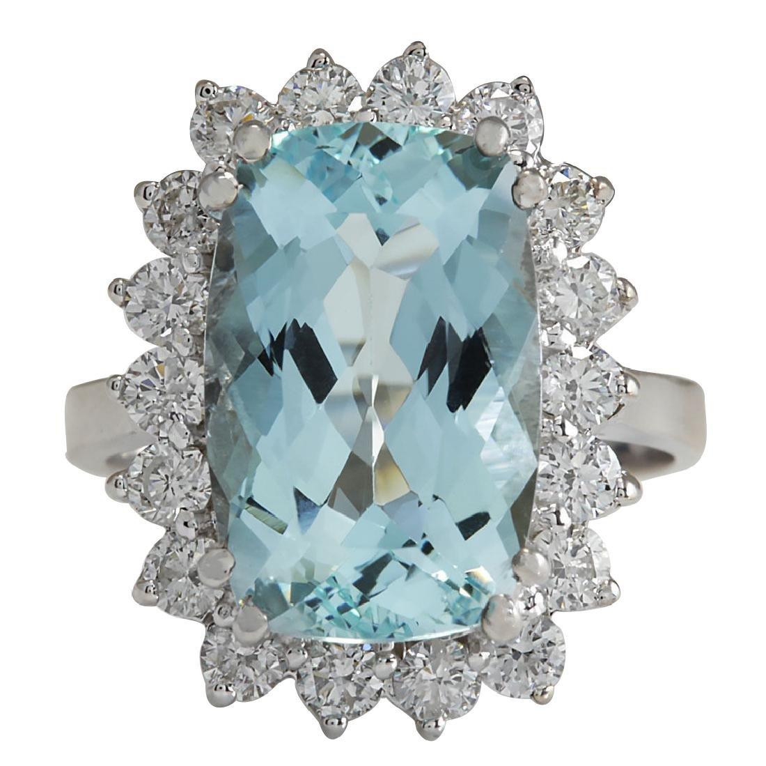 7.00CTW Natural Aquamarine And Diamond Ring In 18K