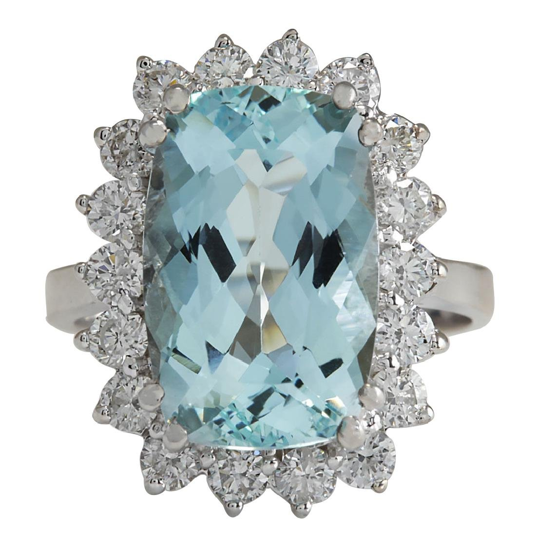 7.00CTW Natural Aquamarine And Diamond Ring In 18K