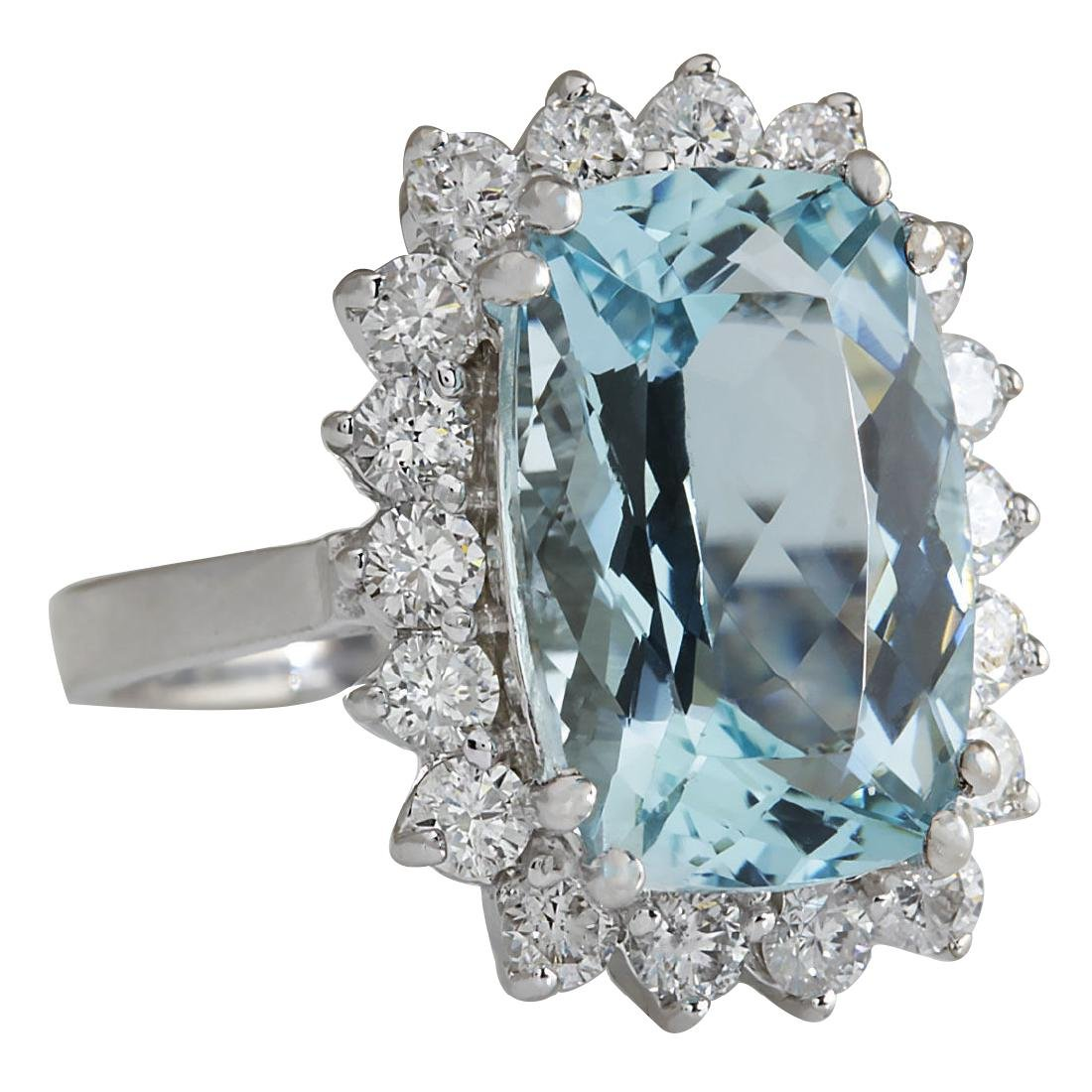 7.00CTW Natural Aquamarine And Diamond Ring In 18K - 2