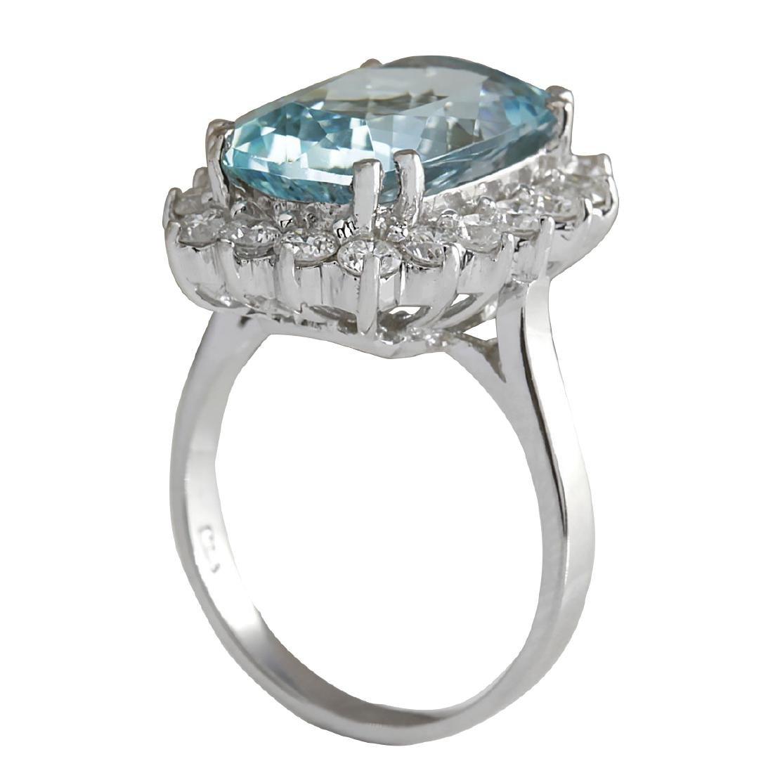 7.00CTW Natural Aquamarine And Diamond Ring In 18K - 3