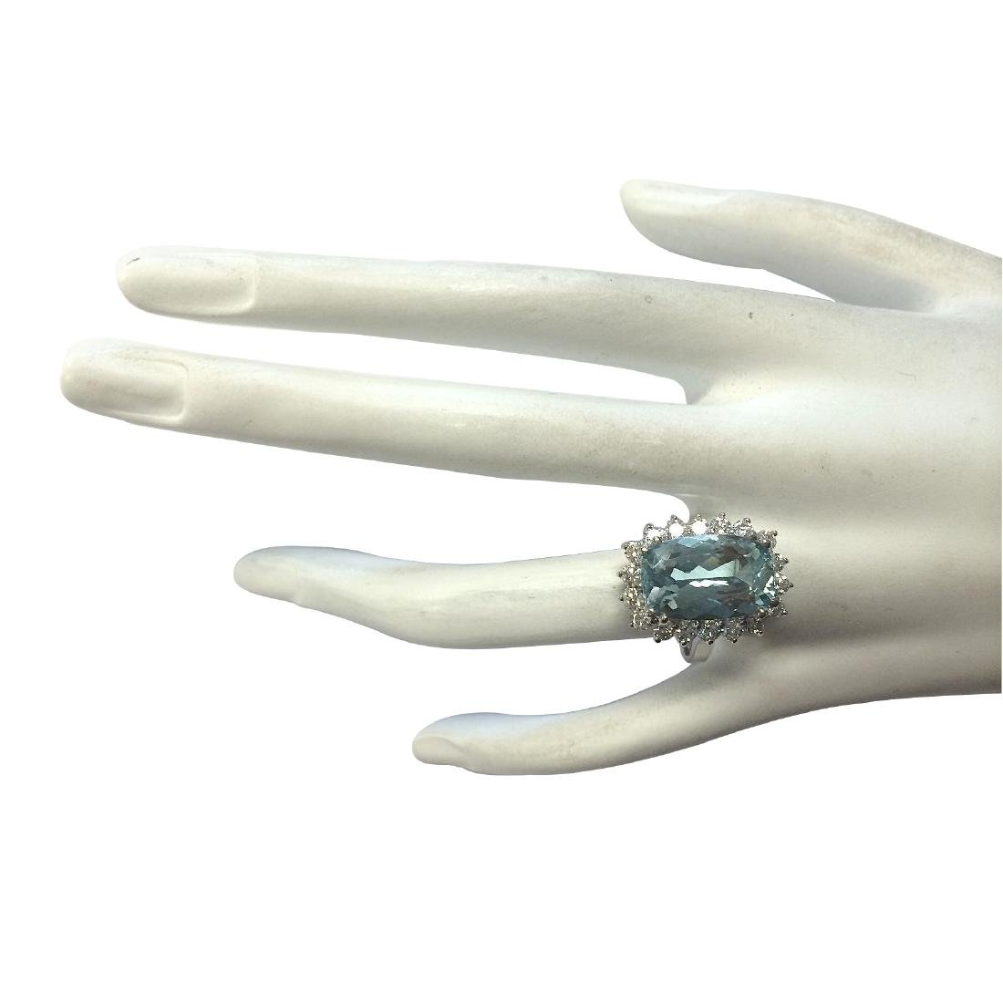 7.00CTW Natural Aquamarine And Diamond Ring In 18K - 4