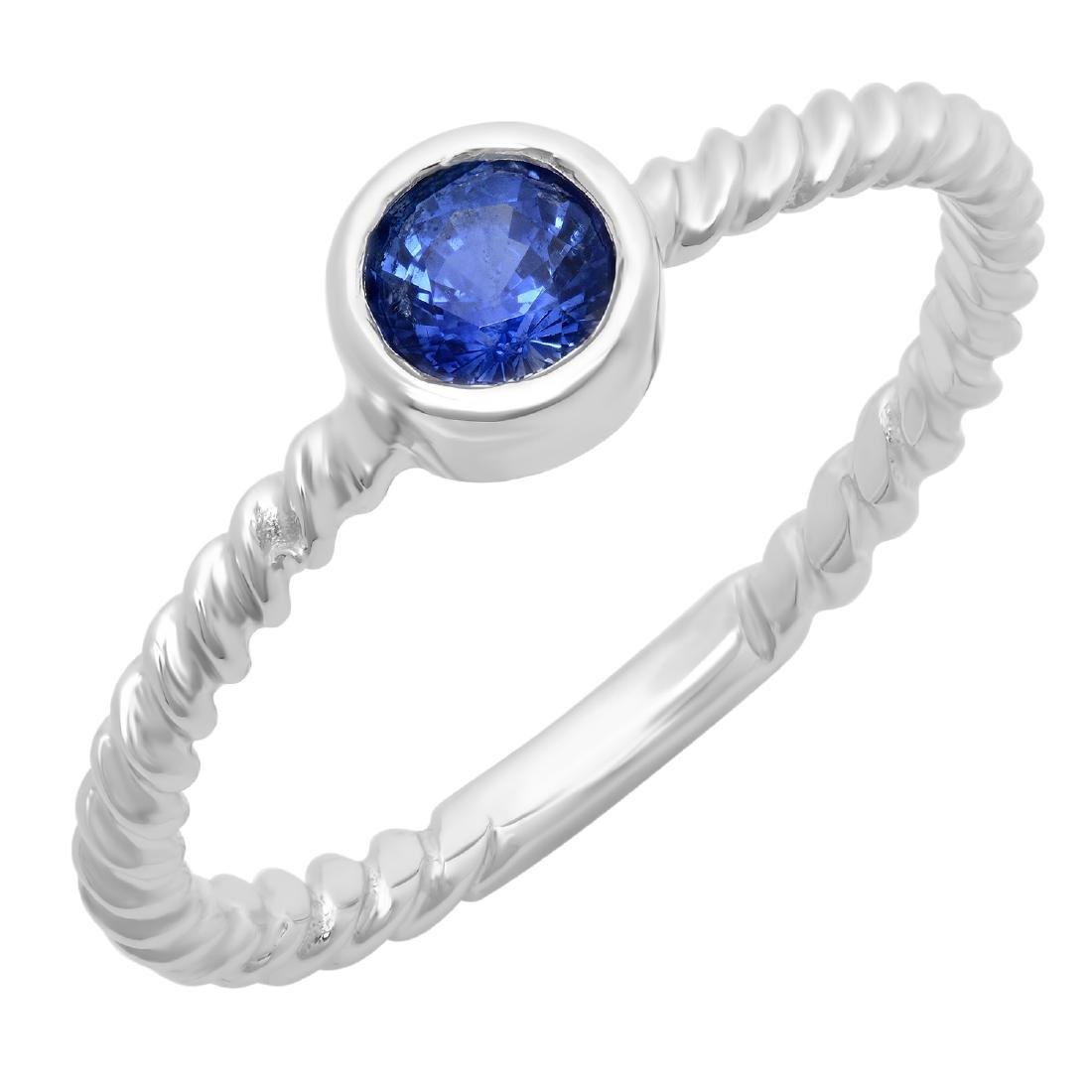 0.46 Carat Natural Sapphire 18K Solid White Gold Ring