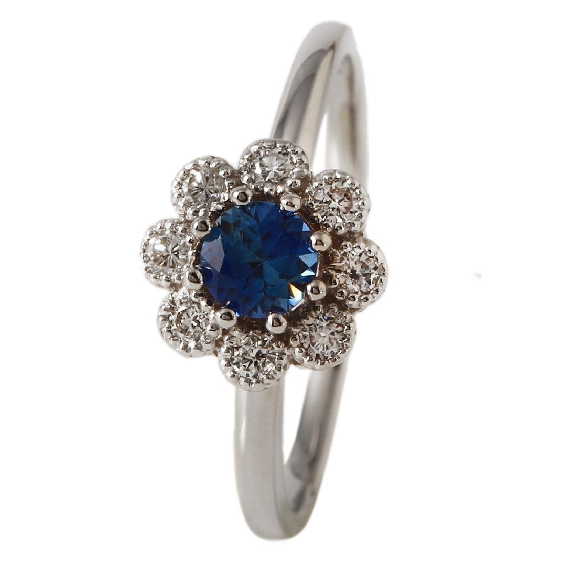 0.52 Carat Natural Sapphire 18K Solid White Gold
