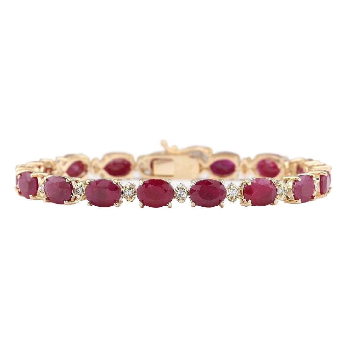 28.58 CTW Natural Red Ruby And Diamond Bracelet In 18K