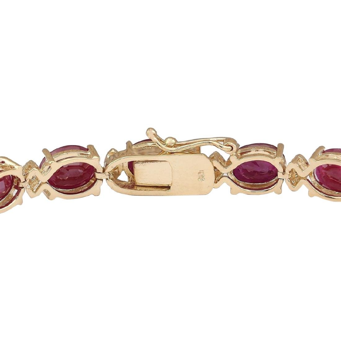 28.58 CTW Natural Red Ruby And Diamond Bracelet In 18K - 2