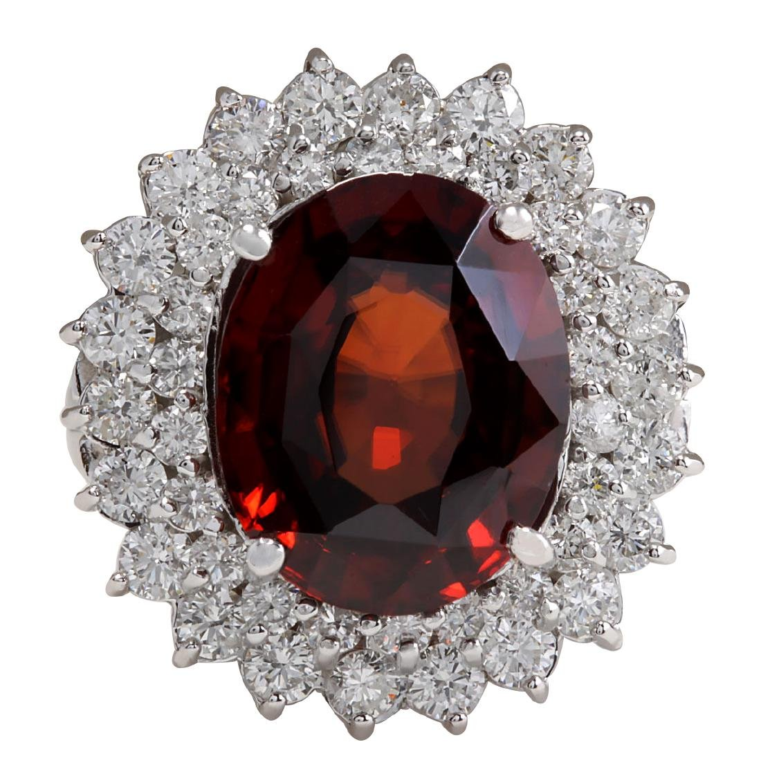 11.01CTW Natural Hessonite Garnet And Diamond Ring 18K