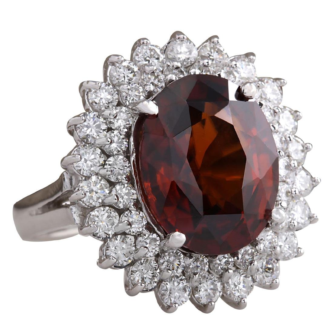 11.01CTW Natural Hessonite Garnet And Diamond Ring 18K - 2