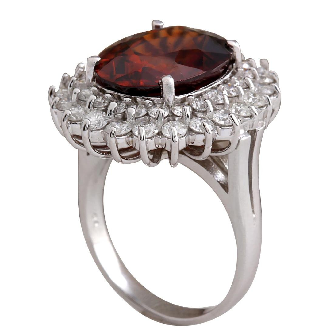 11.01CTW Natural Hessonite Garnet And Diamond Ring 18K - 3
