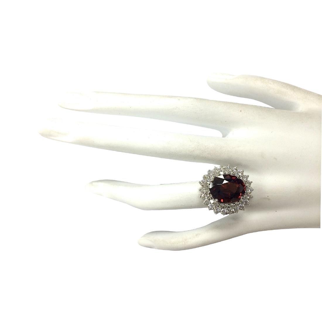 11.01CTW Natural Hessonite Garnet And Diamond Ring 18K - 4