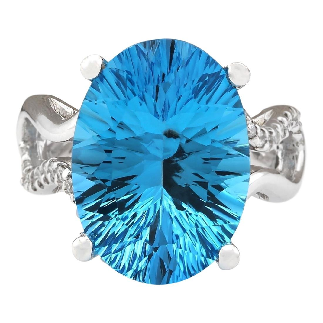 13.90 CTW Natural Blue Topaz And Diamond Ring In18K