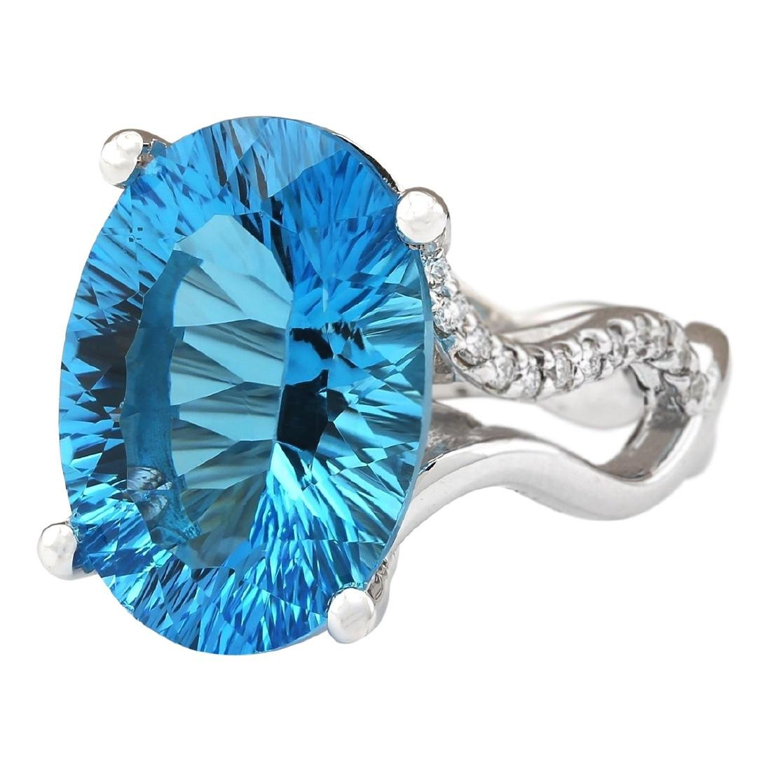 13.90 CTW Natural Blue Topaz And Diamond Ring In18K - 2
