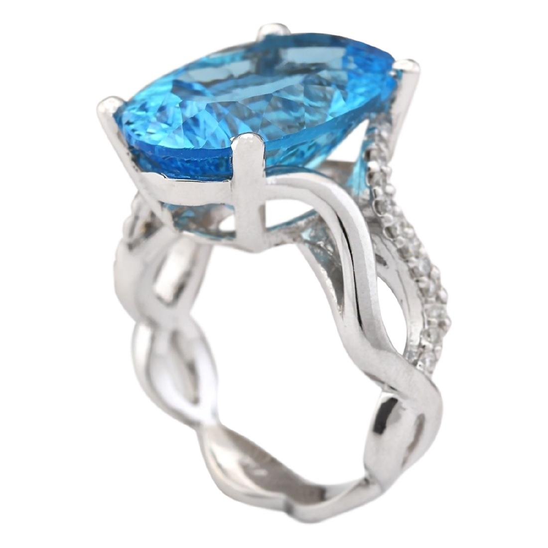13.90 CTW Natural Blue Topaz And Diamond Ring In18K - 3