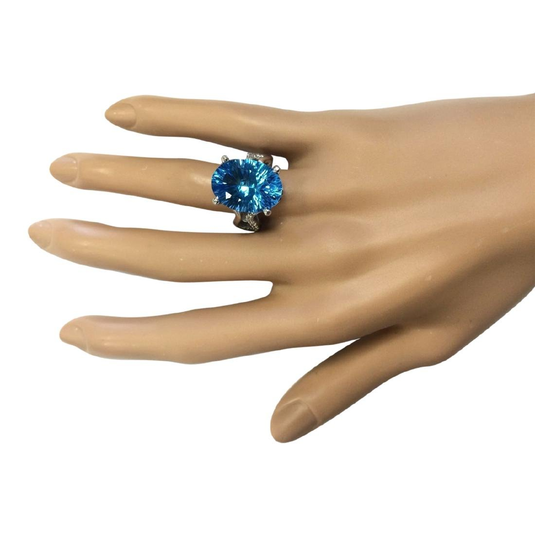 13.90 CTW Natural Blue Topaz And Diamond Ring In18K - 4