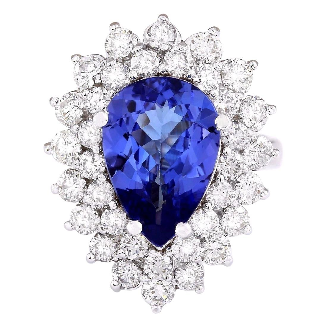 6.21 CTW Natural Blue Tanzanite And Diamond Ring 18K