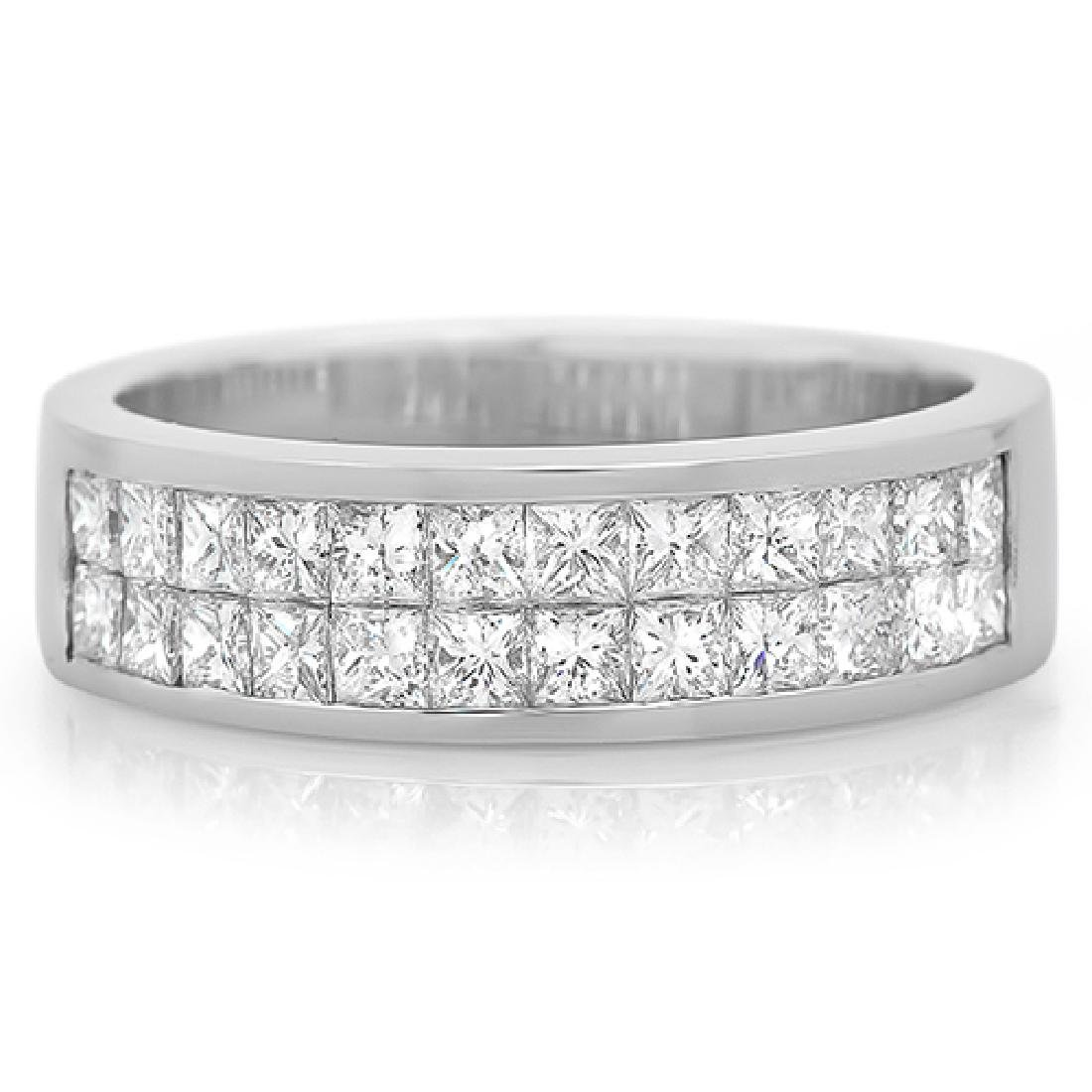 Mens 0.46 Carat Natural Diamond 18K Solid White Gold