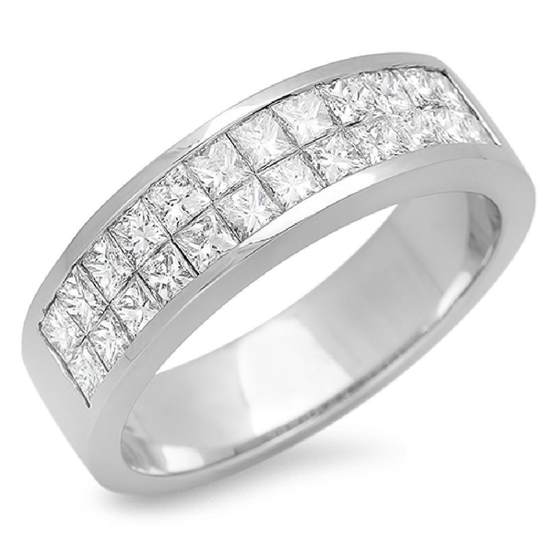 Mens 0.46 Carat Natural Diamond 18K Solid White Gold - 2