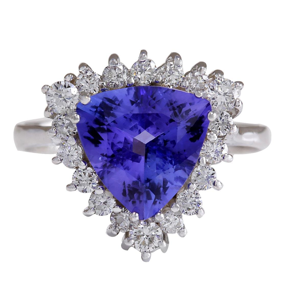 3.25CTW Natural Blue Tanzanite And Diamond Ring 18K