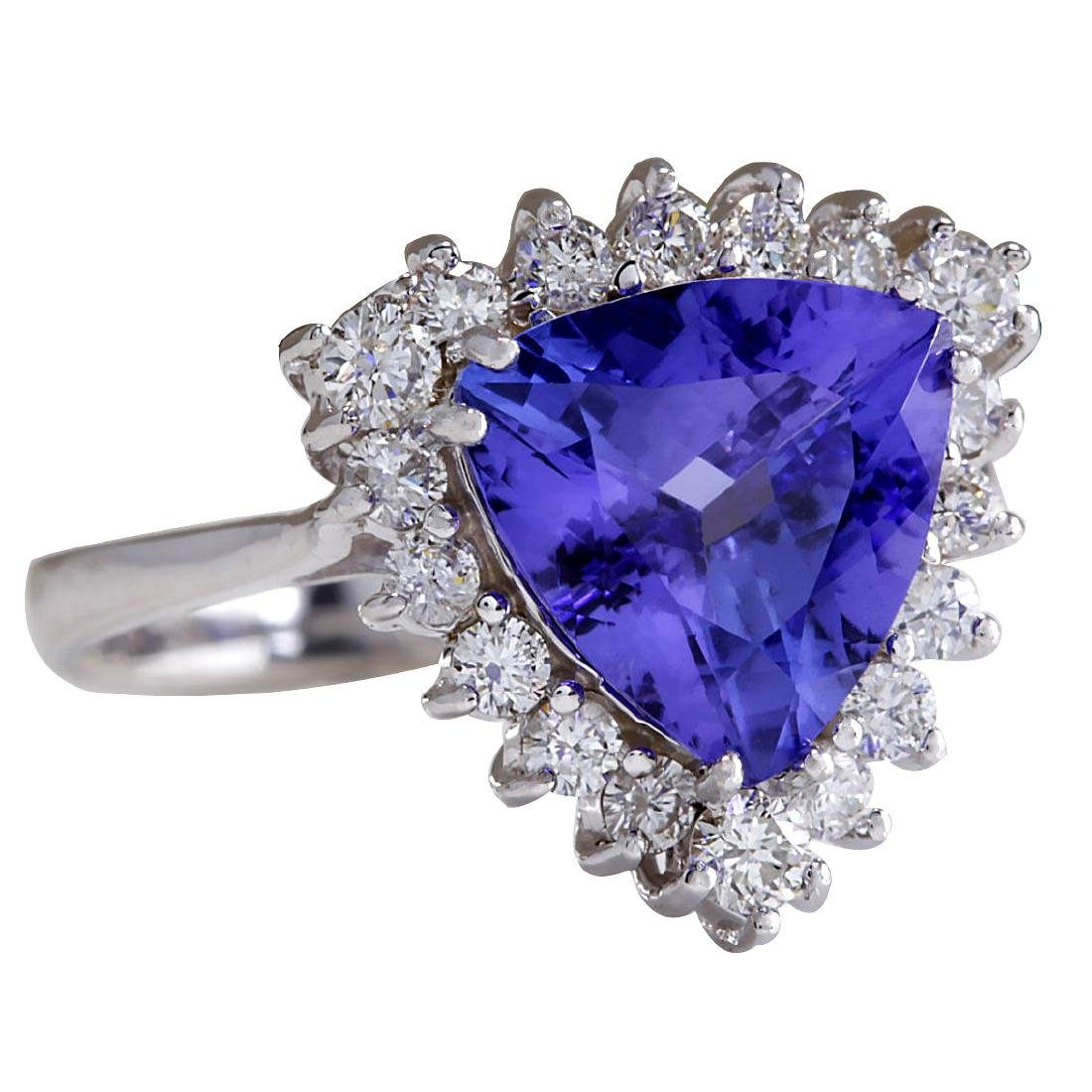 3.25CTW Natural Blue Tanzanite And Diamond Ring 18K - 2