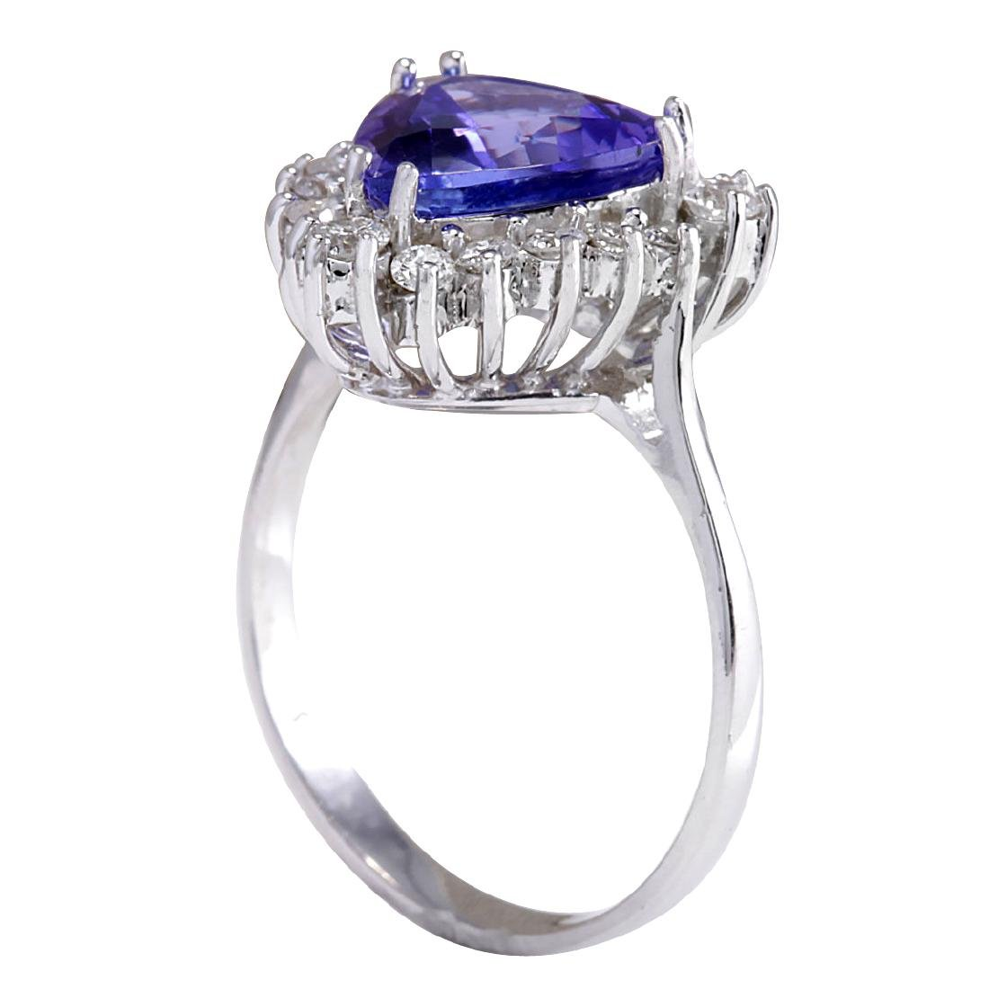 3.25CTW Natural Blue Tanzanite And Diamond Ring 18K - 3