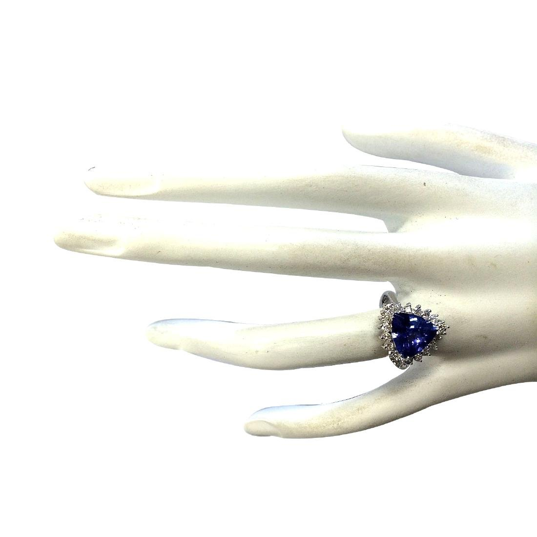 3.25CTW Natural Blue Tanzanite And Diamond Ring 18K - 4