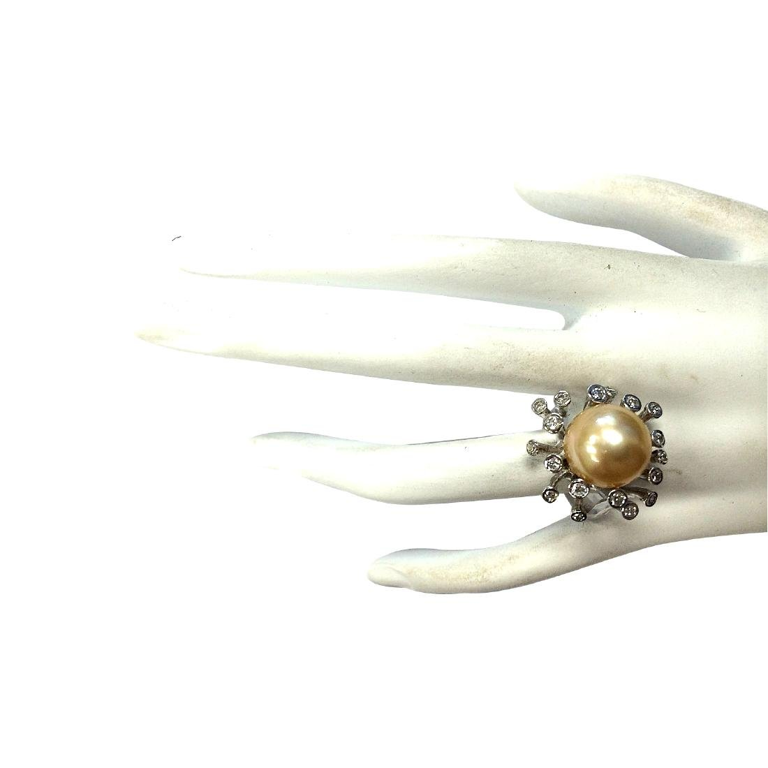 .80CTW Natural 13.17Mm Gold South Sea Pearl Diamond - 4