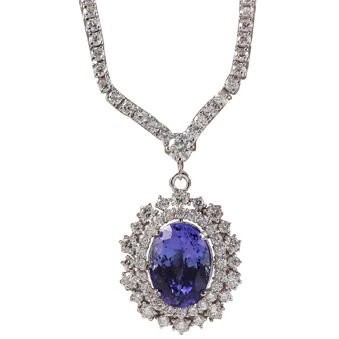 10.98CTW Natural Tanzanite And Diamond Necklace In 18K