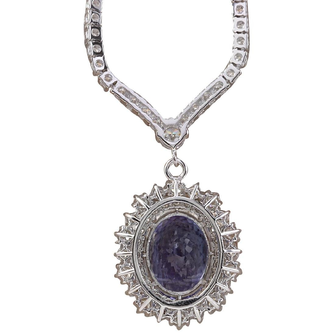 10.98CTW Natural Tanzanite And Diamond Necklace In 18K - 2