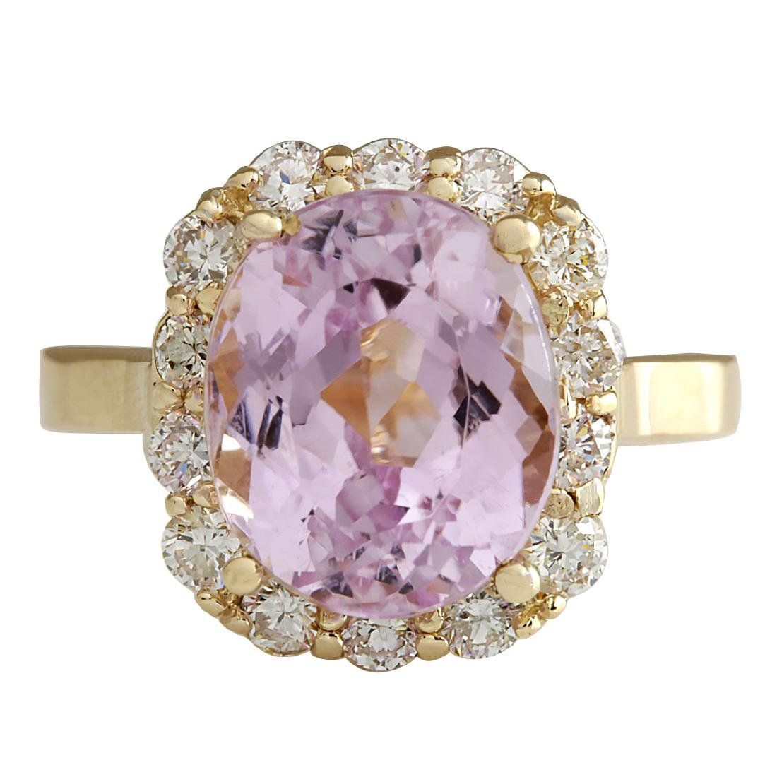 8.06CTW Natural Kunzite And Diamond Ring 18K Solid