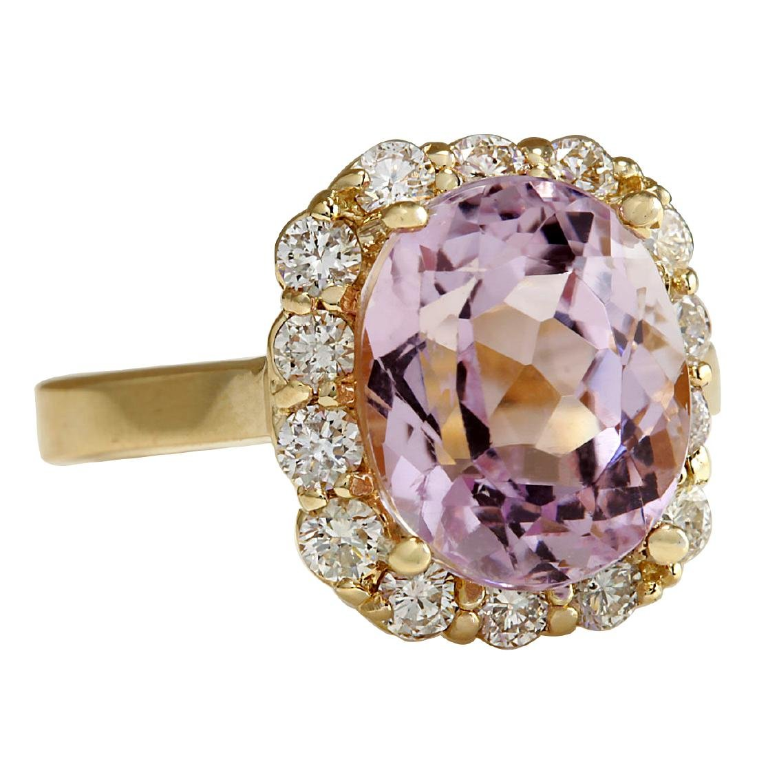 8.06CTW Natural Kunzite And Diamond Ring 18K Solid - 2