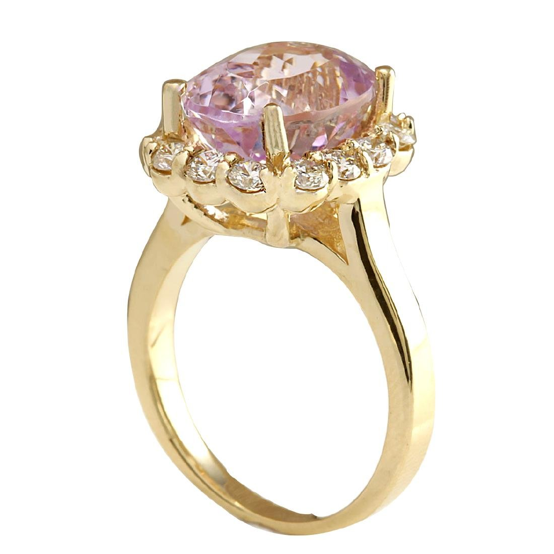 8.06CTW Natural Kunzite And Diamond Ring 18K Solid - 3