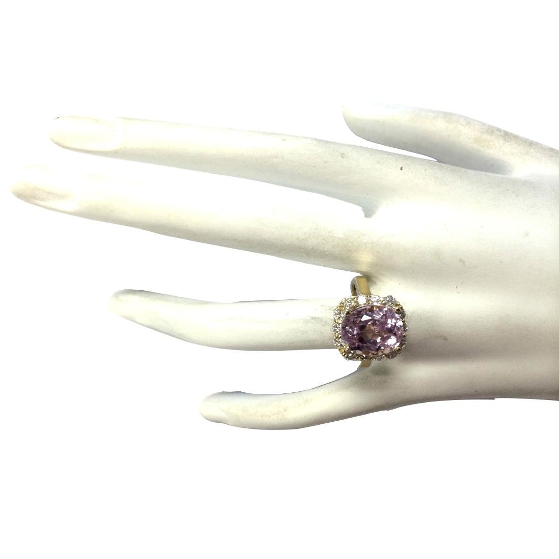 8.06CTW Natural Kunzite And Diamond Ring 18K Solid - 4
