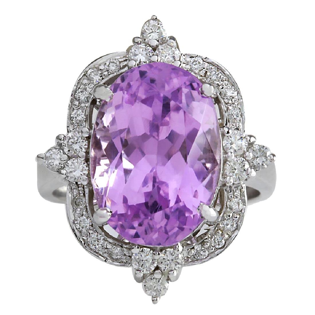 11.65CTW Natural Kunzite And Diamond Ring 18K Solid
