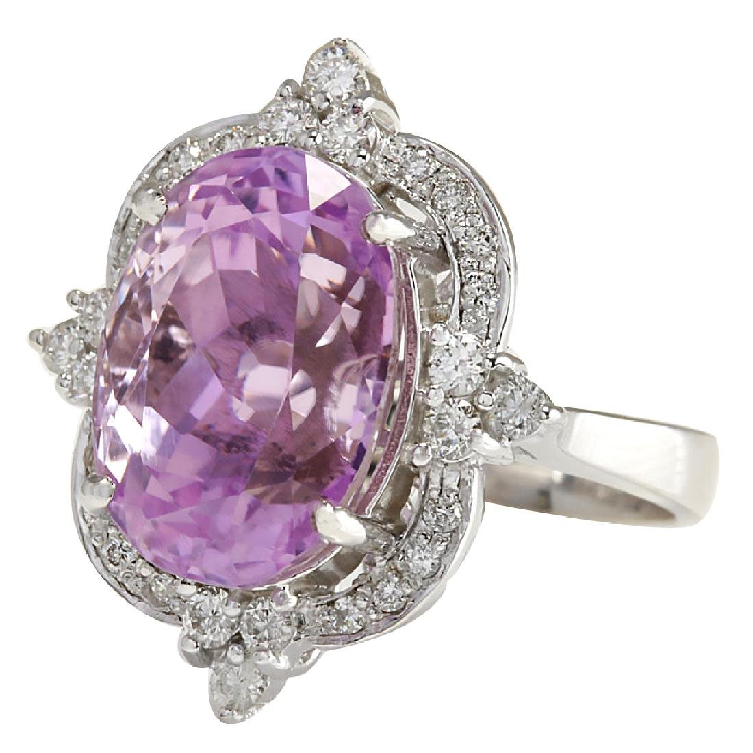 11.65CTW Natural Kunzite And Diamond Ring 18K Solid - 2