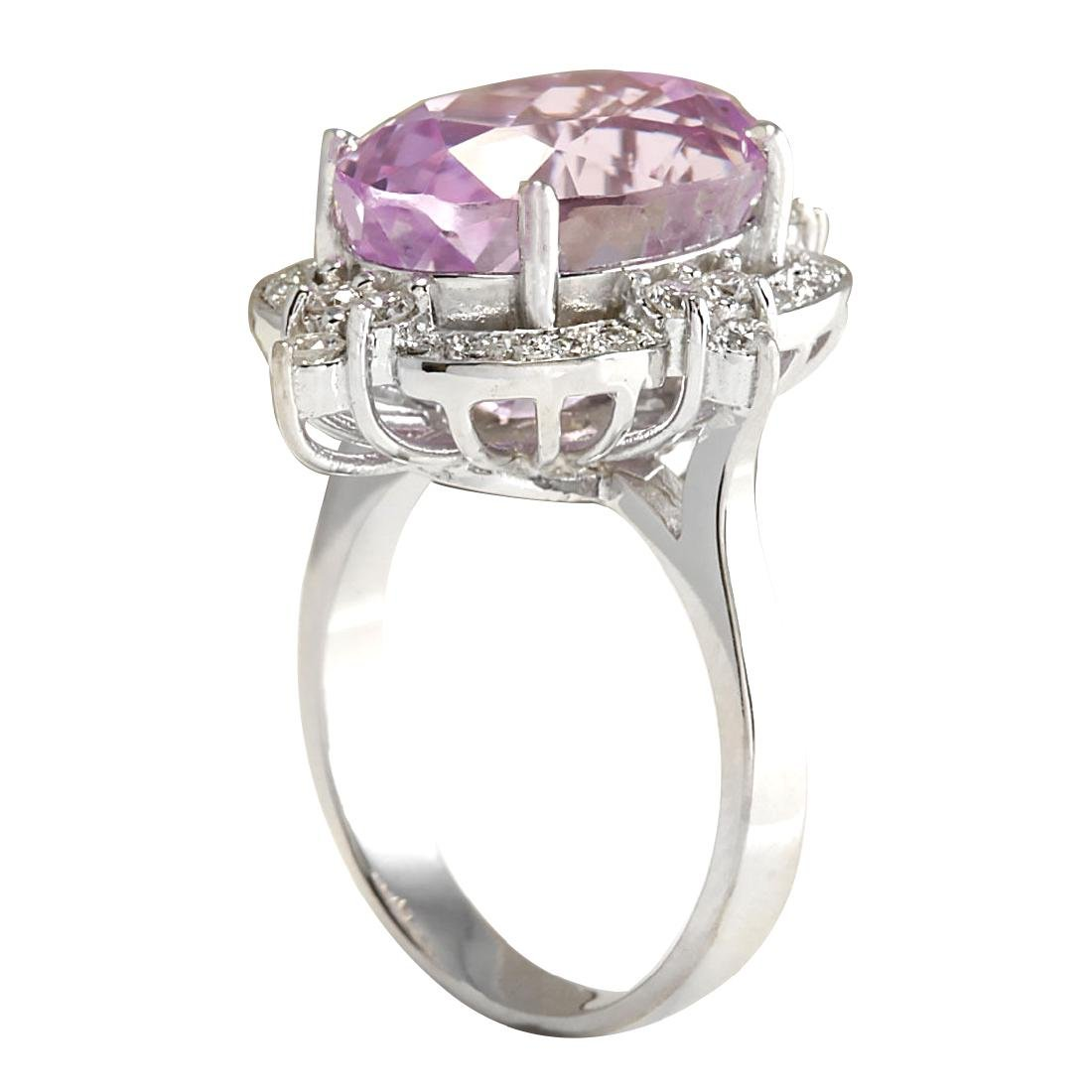 11.65CTW Natural Kunzite And Diamond Ring 18K Solid - 3
