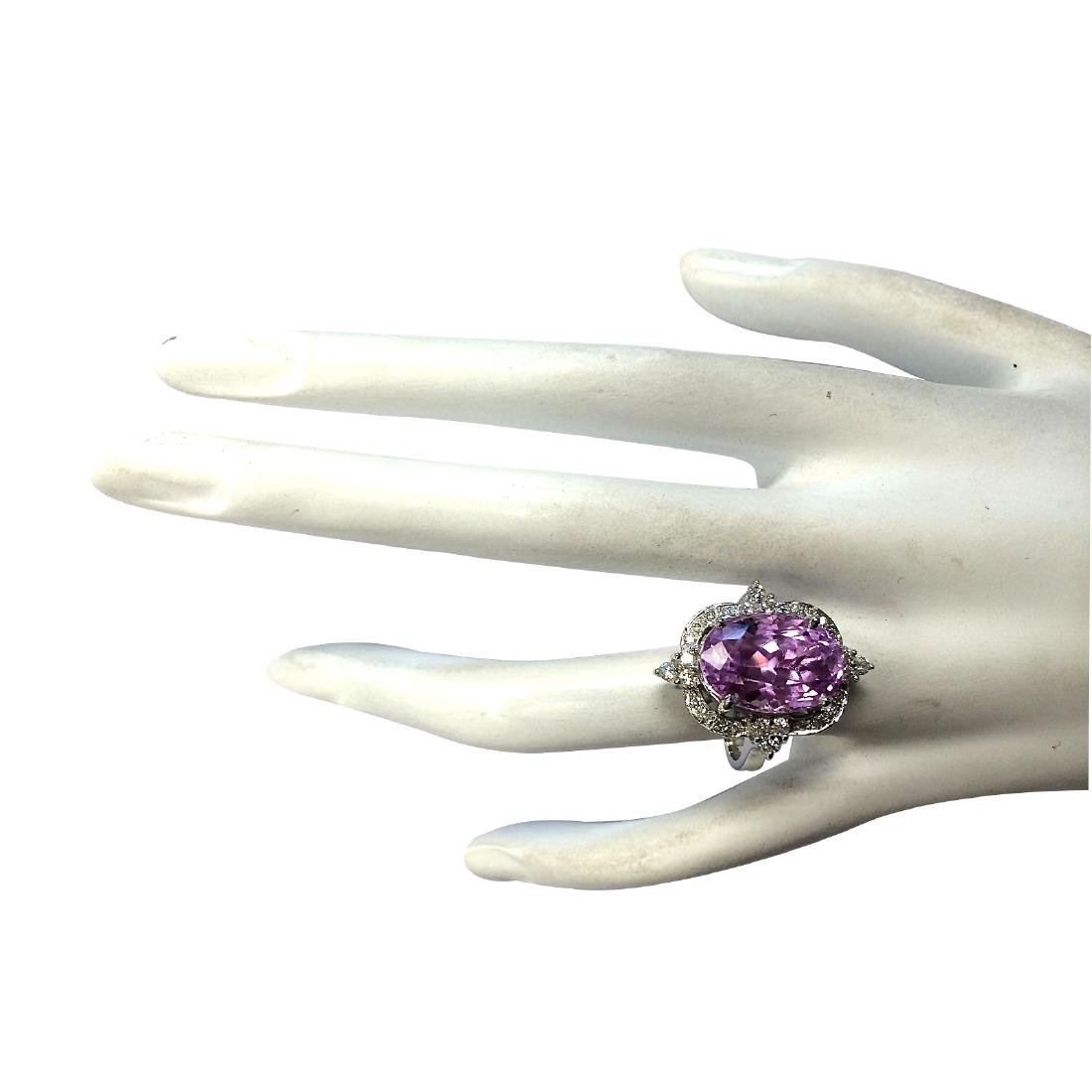 11.65CTW Natural Kunzite And Diamond Ring 18K Solid - 4