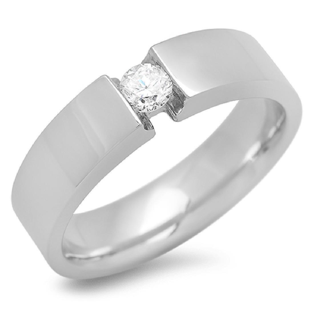 Mens 0.32 Carat Natural Diamond 18K Solid White Gold - 2
