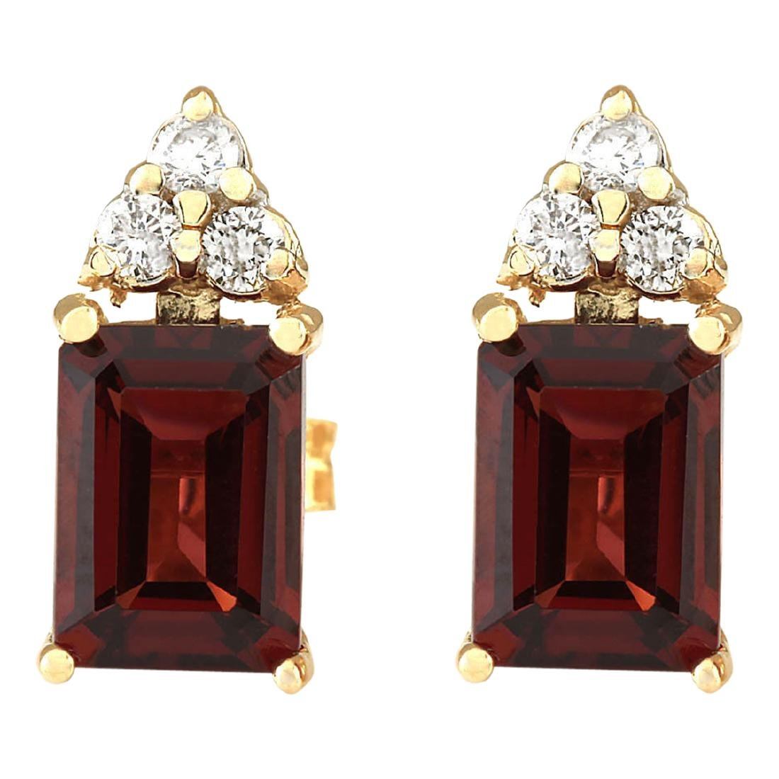 2.66 CTW Natural Garnet And Diamond Earrings 18K Solid