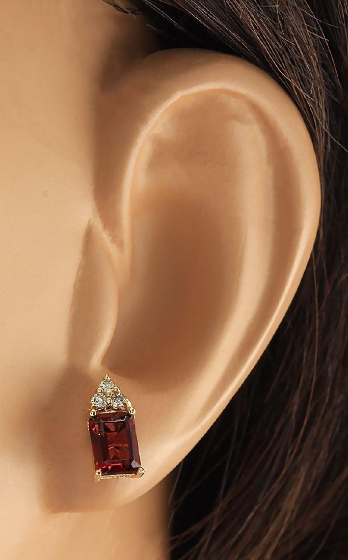 2.66 CTW Natural Garnet And Diamond Earrings 18K Solid - 3