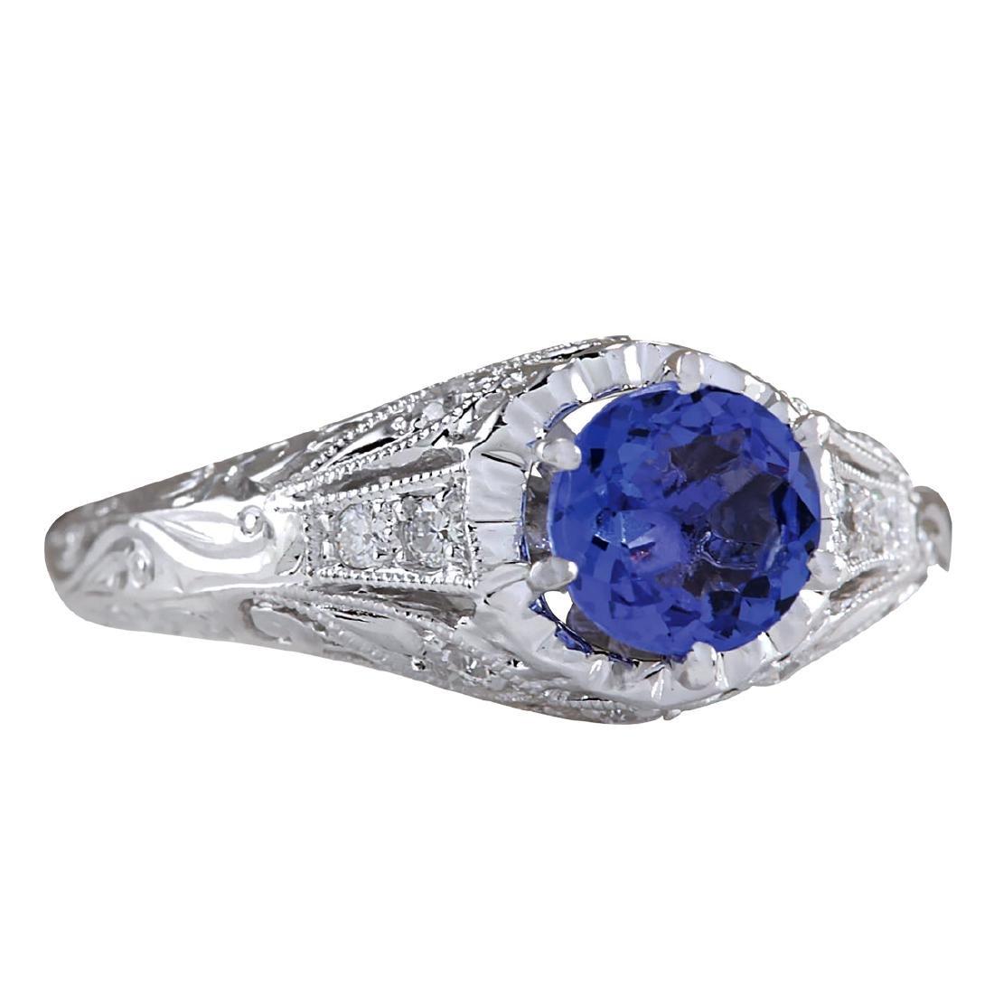1.05CTW Natural Tanzanite And Diamond Ring 18K Solid - 2