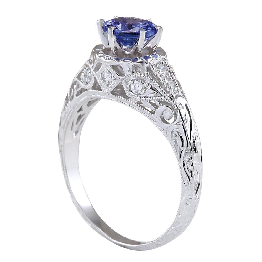 1.05CTW Natural Tanzanite And Diamond Ring 18K Solid - 3