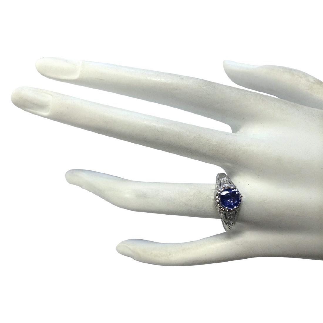 1.05CTW Natural Tanzanite And Diamond Ring 18K Solid - 4