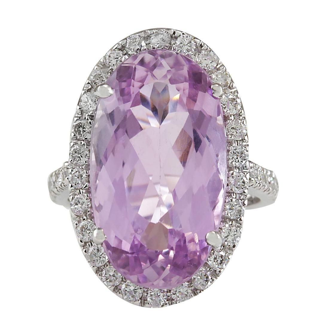 16.40CTW Natural Kunzite And Diamond Ring 18K Solid