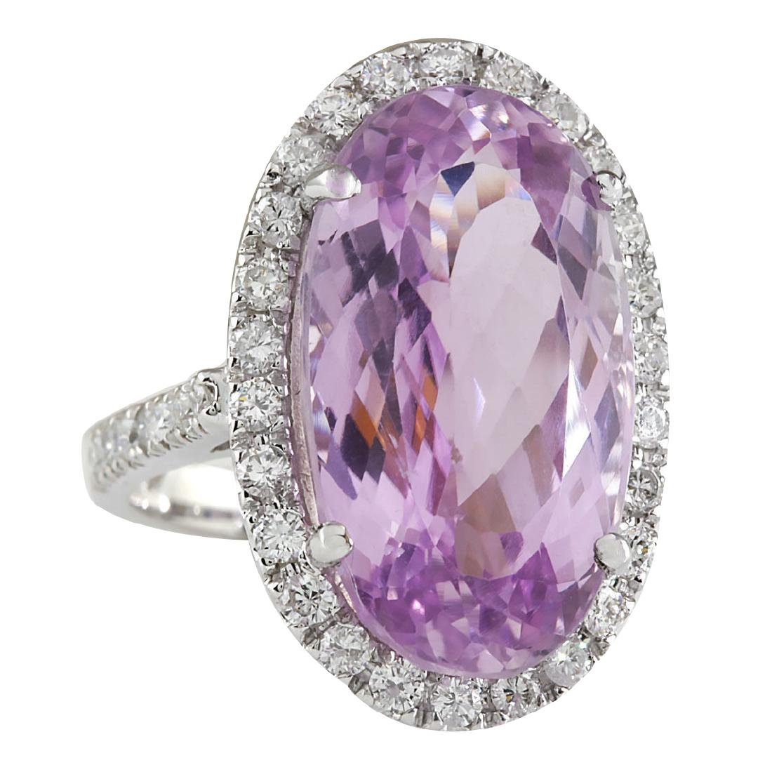 16.40CTW Natural Kunzite And Diamond Ring 18K Solid - 2