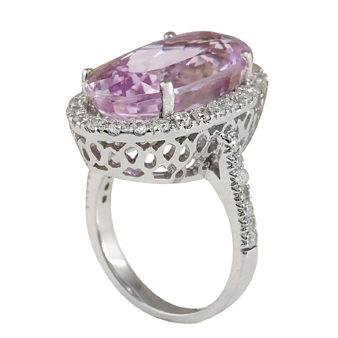 16.40CTW Natural Kunzite And Diamond Ring 18K Solid - 3