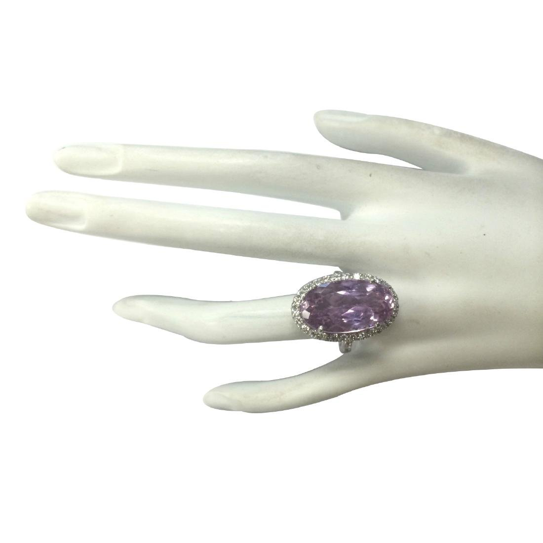 16.40CTW Natural Kunzite And Diamond Ring 18K Solid - 4