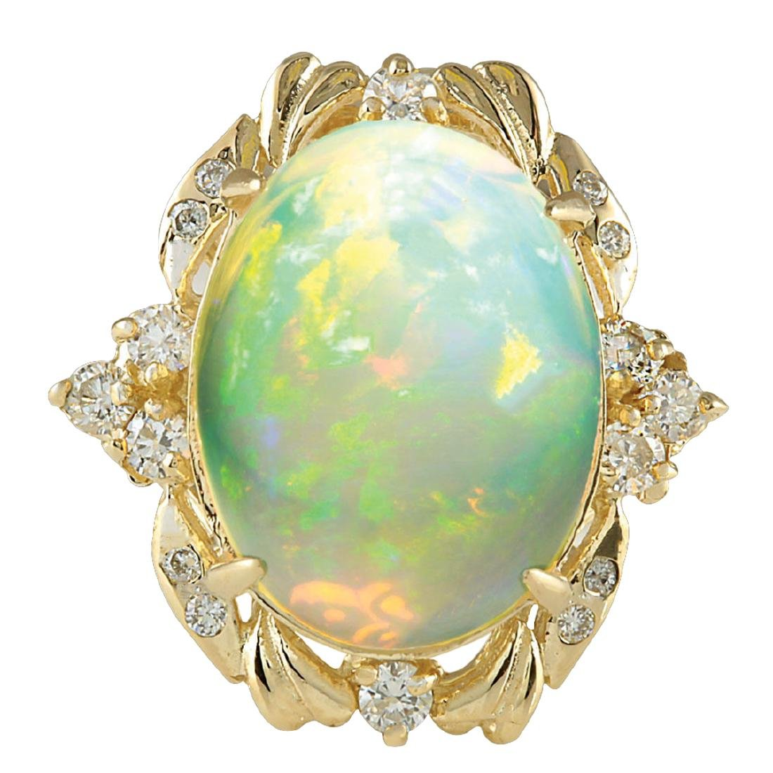 8.87CTW Natural Opal And Diamond Ring In 18K Yellow