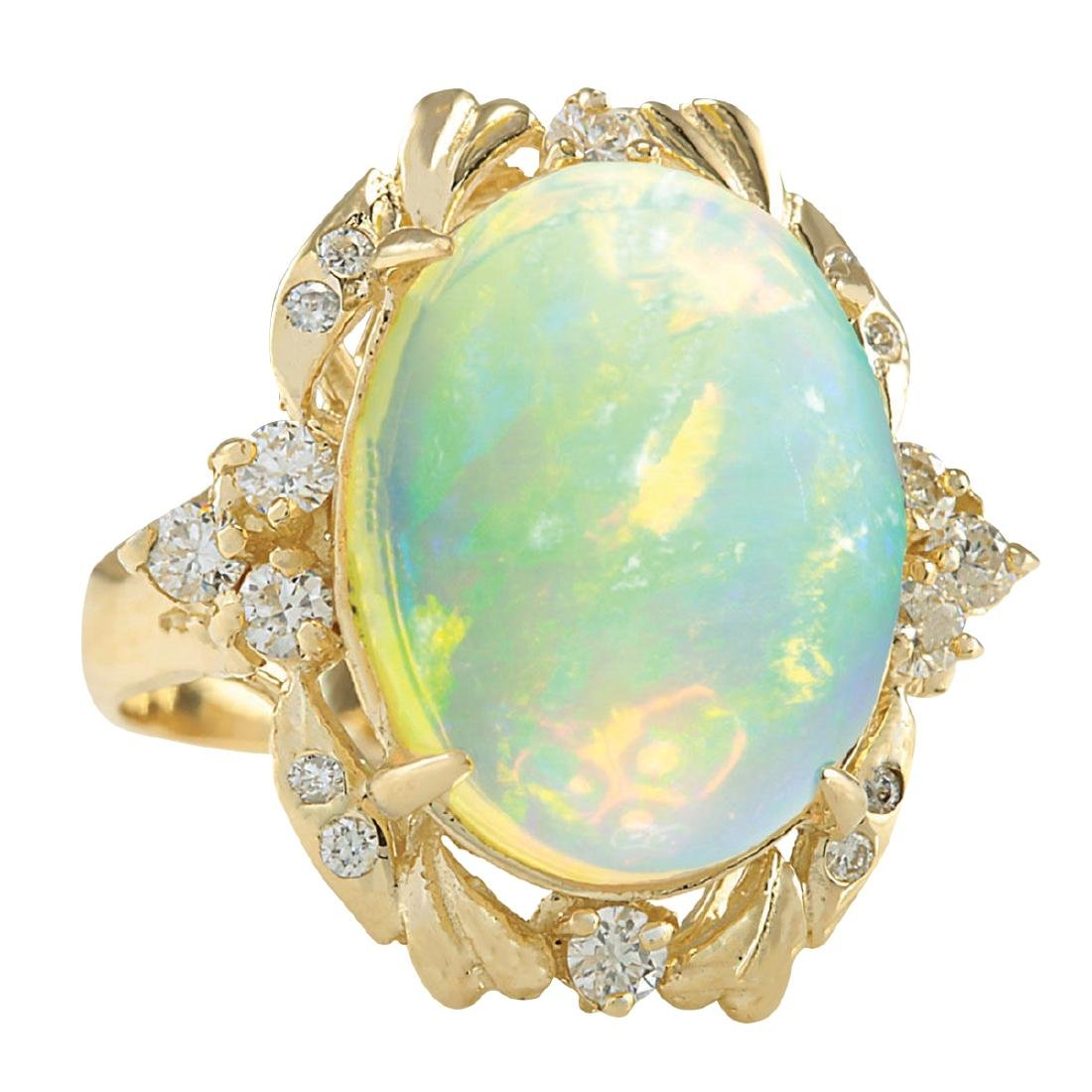 8.87CTW Natural Opal And Diamond Ring In 18K Yellow - 2